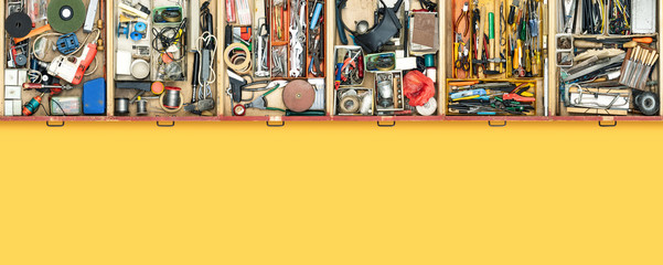 Fototapeta Old do it yourself work tools in drawers obraz