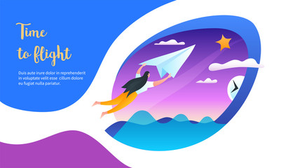 Girl flies on a paper airplane. Time to flight concept. Modern vector illustration