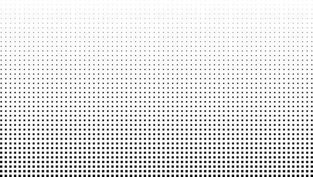 Vector halftone effect background. Monochrome square dots