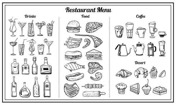 Objects set for restaurant and cafe menu. Vector outline hand drawn sketch illustration with food, sandwiches, alcohol and coffee drinks, desserts isolated black on white background