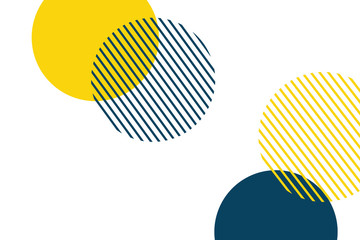 Fototapeta Abstract background made with geometric circles in yellow and blue colors. Memphis style modern, playful vector art.