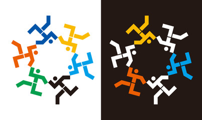 Dancing pepople icons in circular symbol.  Geometrically stylized dancing human figures holding hands. Suitable for logo. Cooperation friendship symbols. Vector available.