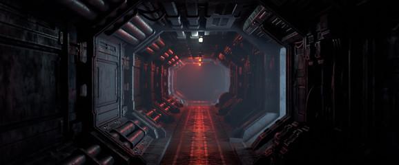 Fototapeta 3d rendering of realistic sci-fi dark corridor with red light. Futuristic tunnel with grunge metal walls. Cyberpunk tunnel. Interior view. Modern futuristic hall. Empty corridor in a spaceship. Fog.