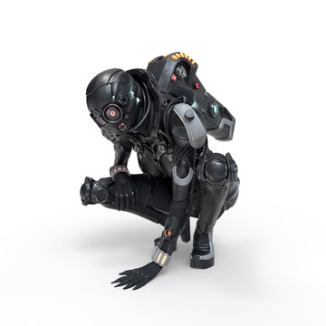 Science fiction cyborg female squatting putting her palm on the floor. Sci-fi girl sitting on her haunches and looking at the floor. Girl in futuristic black armor suit. 3D render on white background.