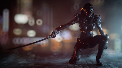 Science fiction cyborg female kneeling on one knee holding a katana in one hand. Sci-fi Cyborg samurai girl. Young Girl in a futuristic black armor suit with a helmet. 3D rendering action scene.