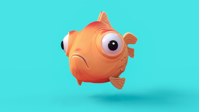 3d cartoon character of a spherical goldfish with big bulging eyes hovering in the air on a blue background. Funny cartoon yellow fish. 3d rendering of a cute sad little fish flying through the air.