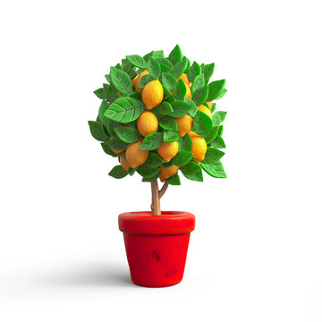 Small lemon tree in a pot. Stylized cartoon lemon tree with green foliage and large yellow lemons. Cute cartoon house plant in a red flower pot. Shapes of leaves. 3D rendering on a white background.