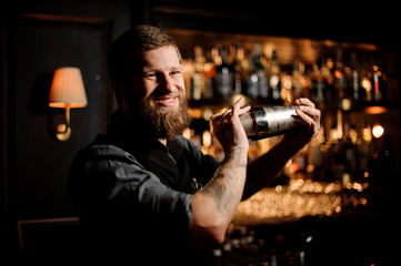 Male bartender using shaker to pour alcohol cocktail