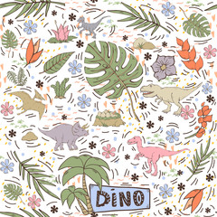 Dinosaur vector seamless pattern on a white background