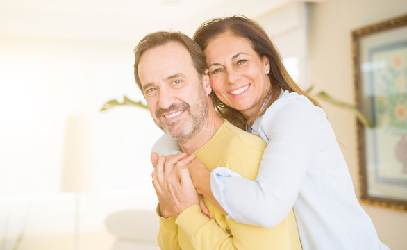 Romantic middle age couple in love at home