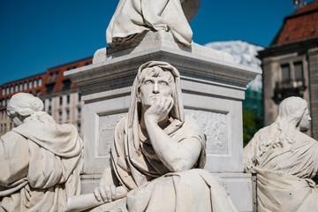 Portrait of a thinking philosopher sculpture at the Schiller Monument at Gendarmenmarkt in Berlin