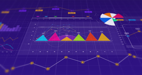 3D Illustration Render Of Business Graphs And Charts. Stock Market And Economy Related Concept.