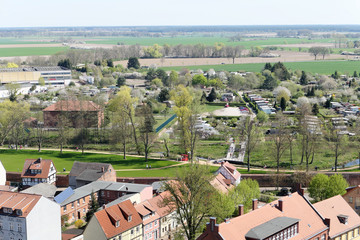 cityscape of two Wittstock in Germany. Aerial view over the city.