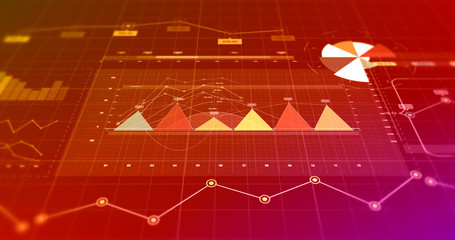 3D Illustration Render Business And Finance Related Charts And Graphs. Stock Market Infographics