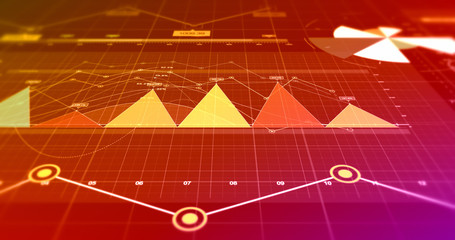 Financial Business Charts, Graphs And Diagrams. 3D Illustration Render Stock Market Infographics