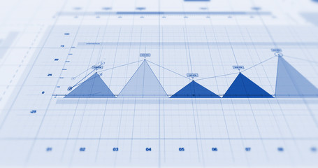 Stock Market Data Visualizations. Pie Charts And Graphs Showing Profits. 3D Illustration Render