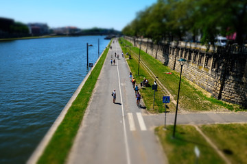 cycle path near the river in Krakow