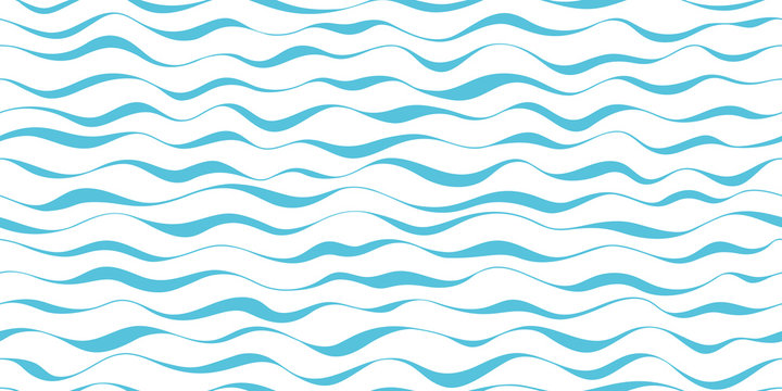 Wave pattern seamless abstract background. Stripes wave pattern blue on white background for summer vector design.