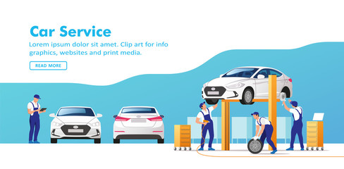 Car service and repair. Vector illustration.