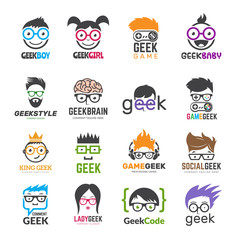 Geek logotypes. Identity for smart kids computer programmers educational vector design. Illustration of geek programmer, learning icon