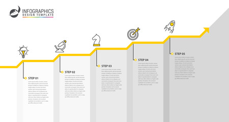Infographic design template. Creative concept with 5 steps Wall mural