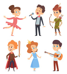 Theater kids. Children making performance at school stage vector funny characters theatre actors in action poses. Illustration of costume artist, entertainment and performance, performing school stage