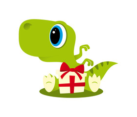 Vector funny cartoon sitting baby Dinosaur with gift package