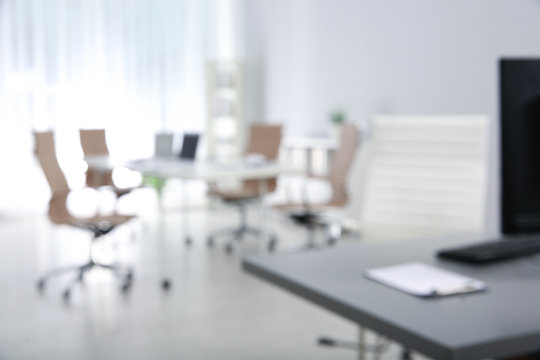 Modern brightly lit office with bokeh effect
