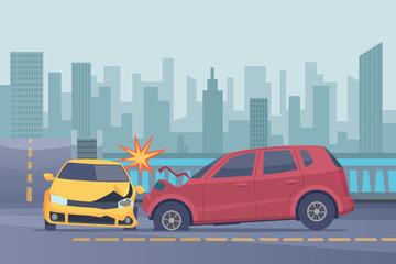 Accident road background. Damaged spped cars in urban landscape emergency help broken transport vector pictures. Illustration of crash transport on road, broken auto collision