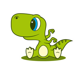 Vector funny cartoon sitting baby Dinosaur.