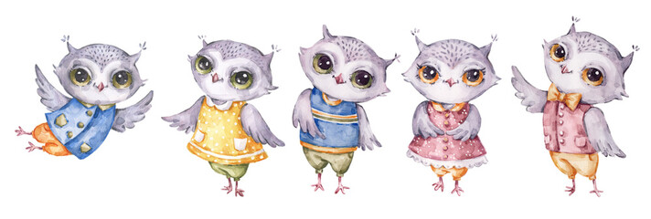 Four cute aquarelle owls, set in childish style