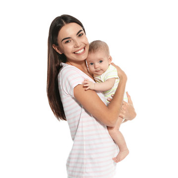 Portrait of happy mother with her baby isolated on white