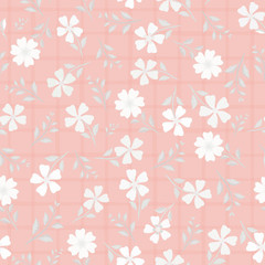 Beautiful hand drawn flowers and leaves in shades of white. Vector seamless pattern on pink watercolour grid background. Great for wellness, beauty, garden products, stationery, packaging, giftwrap