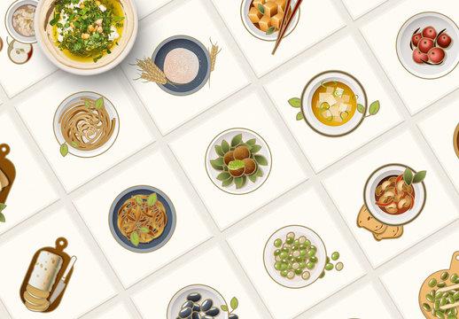 24 Vegetarian Food Icons Layout