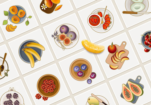 25 Colorful Fruit Icons Layout