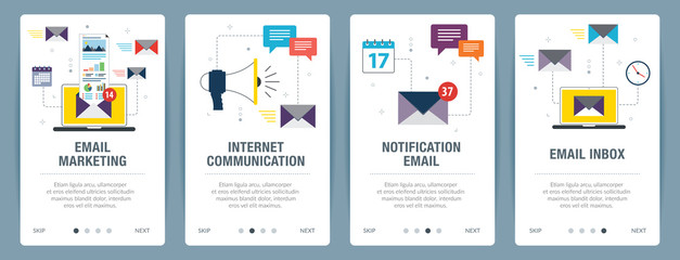 Vector set of vertical web banners with email marketing, internet communication, notification email and email inbox. Vector banner template for website and mobile app development with icon set.