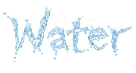 """Water splash with water droplets in the form of word """"Water"""" from water alphabet, isolated on white background. Liquid template design element. Clipping path included. 3D illustration"""