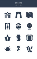 12 museum vector icons such as poetry, ballet, ink, frame, ceramic contains information desk, anthropology, mummy, metal detector, trifold, arc icons