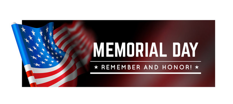 Memorial day vector illustration with waving flag of united states of america