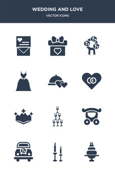 12 wedding and love vector icons such as wedding cake, wedding candle, car, carriage, champagne contains crown, day, dinner, dress, flowers, gift icons