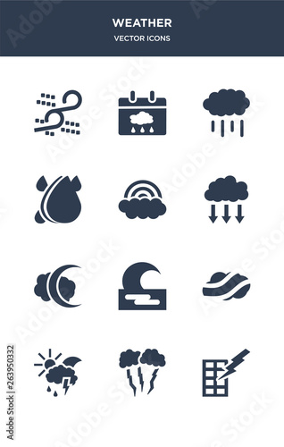 12 weather vector icons such as light bolt, lightning