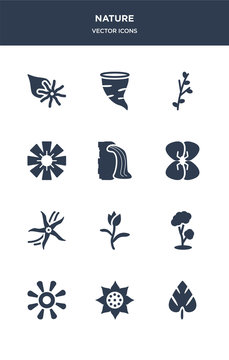 12 nature vector icons such as spear shaped, sunrise, sunset, tree, tulip contains vanilla, wallflower, waterfall, wedelia, willow, windstorm icons