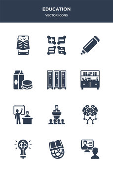 12 education vector icons such as interactive course, international, knowledge, learning, lecture contains lesson, library, lockers, lunch, marker, maths icons