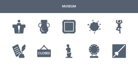 10 museum vector icons such as museum fencing, porcelain, venus de milo, closed, poetry contains ballet, ink, frame, ceramic, information desk. museum icons
