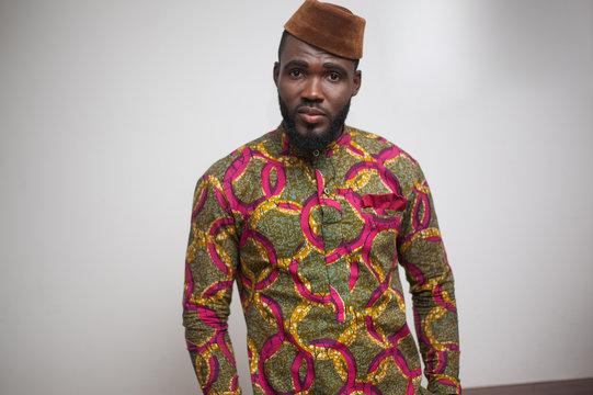Portrait of a man wearing an African shirt