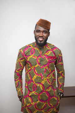 Portrait of a man wearing an African shirt