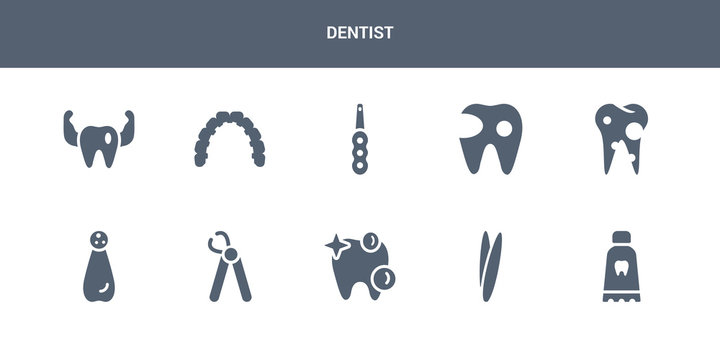 10 dentist vector icons such as toothpaste tube, tweezers, white teeth, wisdom tooth, apicoectomy contains bicuspid, cavity, intraoral, lingual braces, prophylaxis. dentist icons