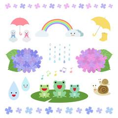 梅雨 イラスト セット / vector eps 10