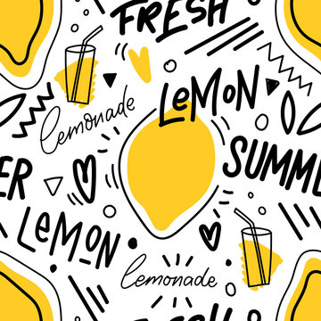Seamless pattern with lemon and lemonade and lettering for print, textile. Seasonal summer background with fresh drink.