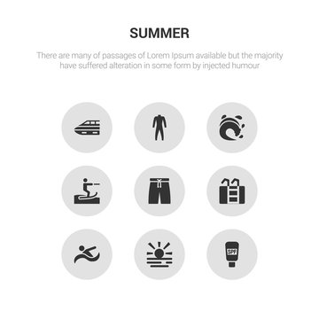 9 round vector icons such as sunscreen, sunset at sea, swimming person, swimming pool ladder, swimming trunks contains waterski, wave, wetsuit, yatch boat. sunscreen, sunset at sea, icon3_, gray